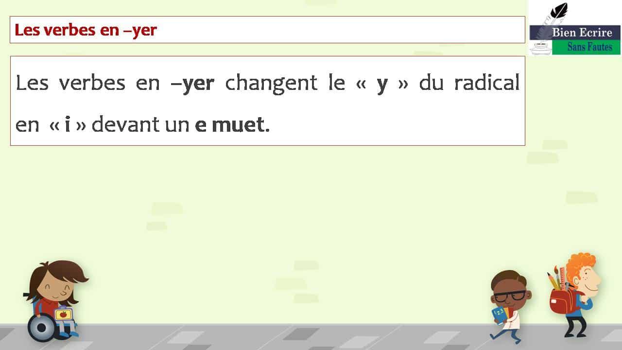 Les verbes en –yer Les verbes en –yer changent le « y » du radical en « i » devant un e muet.