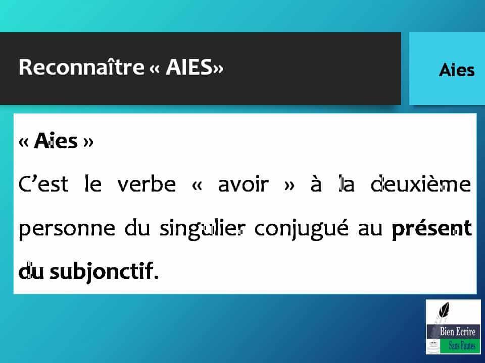 Reconnaître « AIES» « Aies » C'est le verbe « avoir » à la deuxième personne du singulier conjugué au présent du subjonctif.