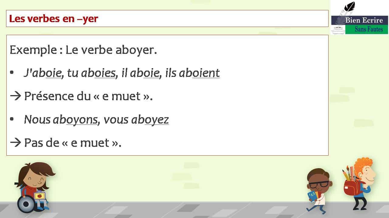Les verbes en –yer Exemple : Le verbe aboyer. • J'aboie, tu aboies, il aboie, ils aboient  Présence du « e muet ». • Nous aboyons, vous aboyez  Pas de « e muet ».