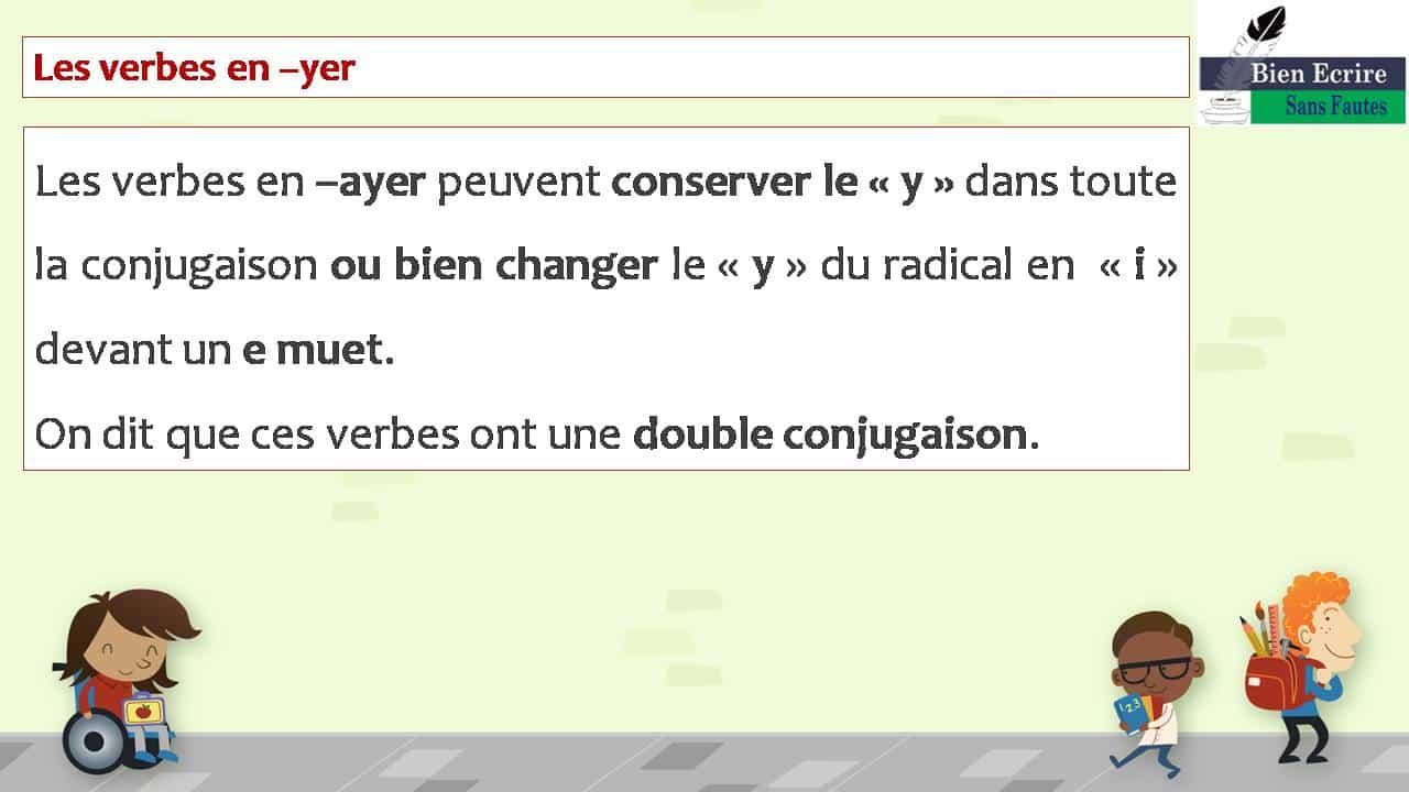 Les verbes en –yer Les verbes en –ayer peuvent conserver le « y » dans toute la conjugaison ou bien changer le « y » du radical en « i » devant un e muet. On dit que ces verbes ont une double conjugaison.