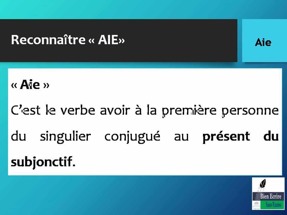 Reconnaître « AIE» « Aie » C'est le verbe avoir à la première personne du singulier conjugué au présent du subjonctif.