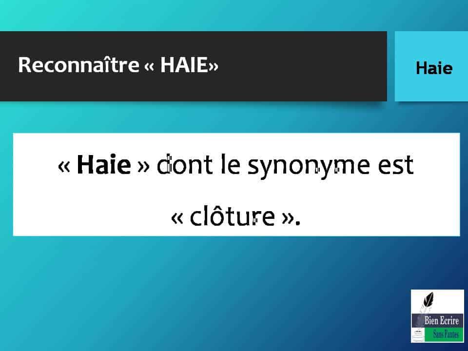 Reconnaître « HAIE» « Haie » dont le synonyme est « clôture ».