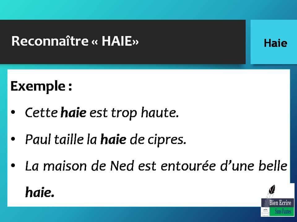 Reconnaître « HAIE» Exemple : • Cette haie est trop haute. • Paul taille la haie de cipres. • La maison de Ned est entourée d'une belle haie.