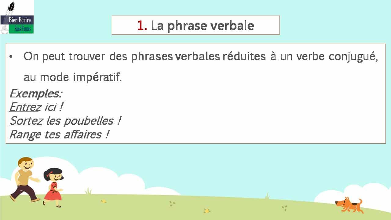 On peut trouver des phrases verbales réduites à un verbe conjugué, au mode impératif. Exemples:Entrez ici !Sortez les poubelles!Range tes affaires!