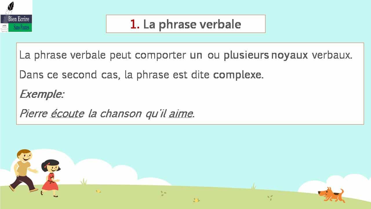 La phrase verbale peut comporter un ou plusieurs noyaux verbaux. Dans ce second cas, la phrase est dite complexe. Exemple: Pierre écoute la chanson qu'il aime.