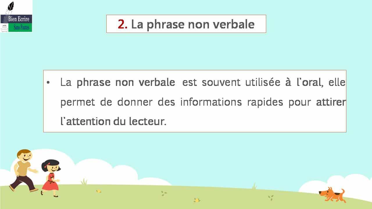 2. La phrase non verbale La phrase non verbale est souvent utilisée à l'oral, elle permet de donner des informations rapides pour attirer l'attention du lecteur.