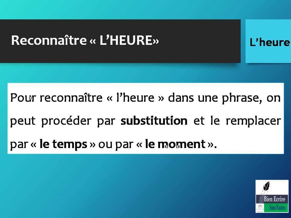 Pour reconnaître « l'heure » dans une phrase, on peut procéder par substitution et le remplacer par « le temps » ou par « le moment ».