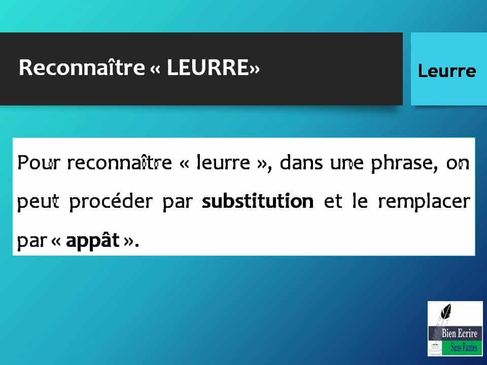 Pour reconnaître « leurre », dans une phrase, on peut procéder par substitution et le remplacer par « appât ».