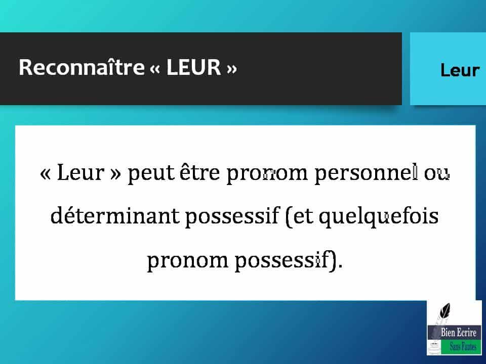Reconnaître « LEUR » « Leur » peut être pronom personnel ou déterminant possessif (et quelquefois pronom possessif).