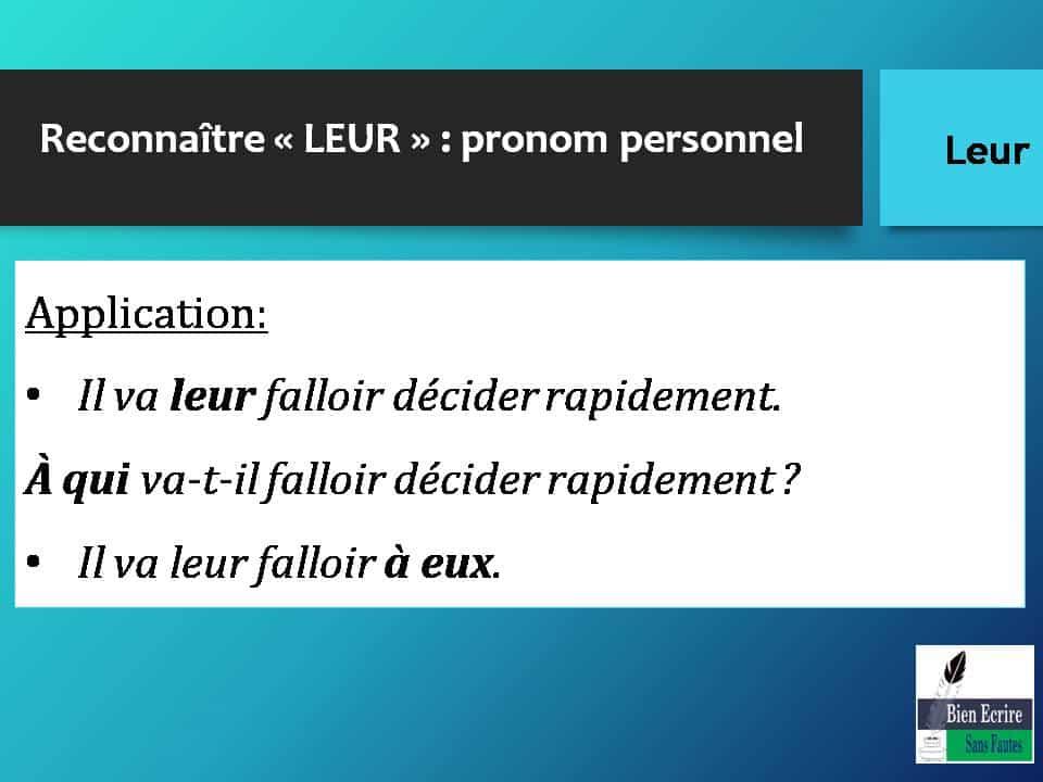 Reconnaître « LEUR » : pronom personnel Application: • Il va leur falloir décider rapidement. À qui va-t-il falloir décider rapidement ? • Il va leur falloir à eux.