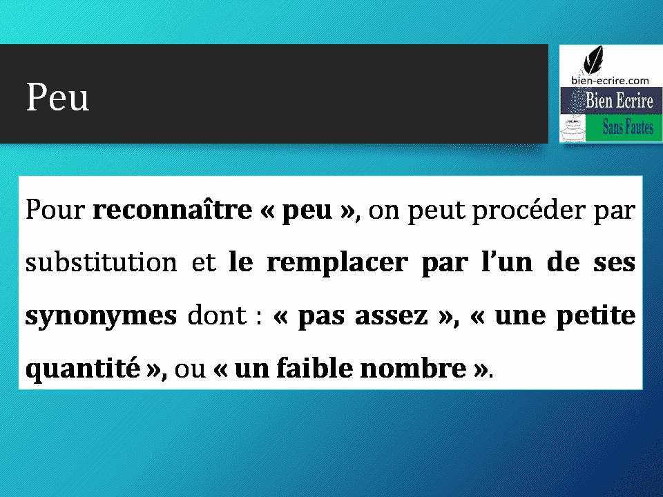 Pour reconnaître « peu », on peut procéder par substitution et le remplacer par l'un de ses synonymes dont : « pas assez », « une petite quantité », ou « un faible nombre ».