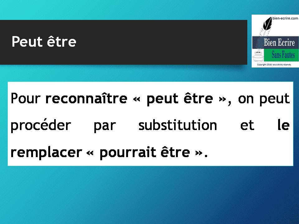 Pour reconnaître « peut être », on peut procéder par substitution et le remplacer « pourrait être ».