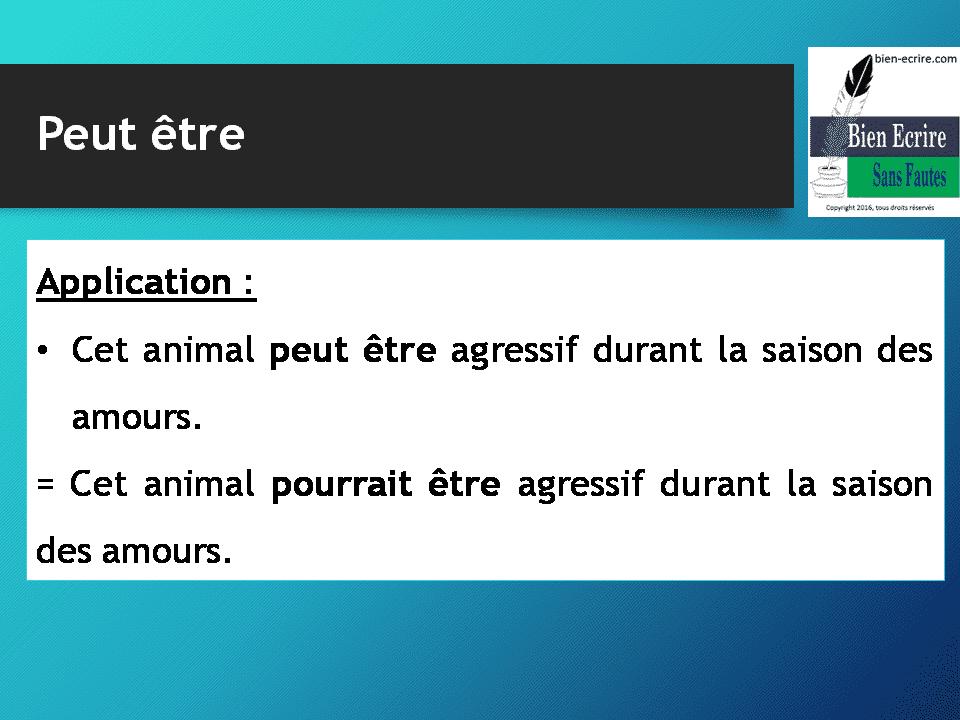 Application : • Cet animal peut être agressif durant la saison des amours. = Cet animal pourrait être agressif durant la saison des amours.