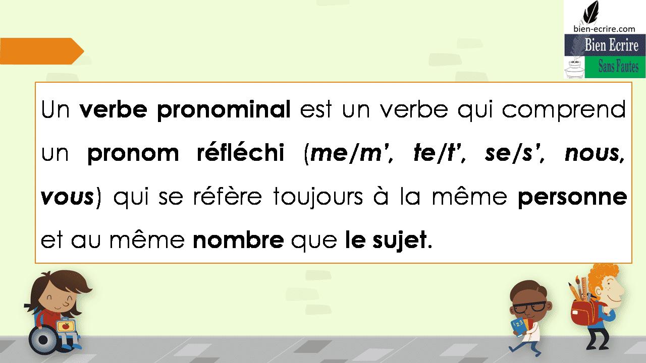 Un verbe pronominal est un verbe qui comprend un pronom réfléchi (me/m', te/t', se/s', nous, vous) qui se réfère toujours à la même personne et au même nombre que le sujet.