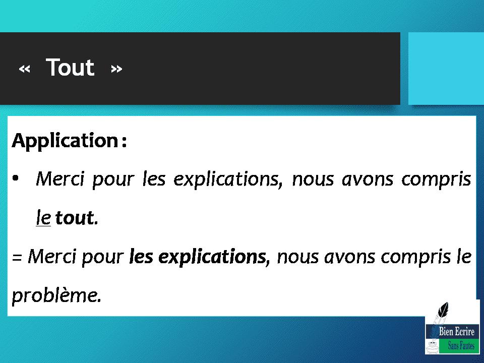 Application: Merci pour les explications, nous avons compris le tout. = Merci pour les explications, nous avons compris le problème.