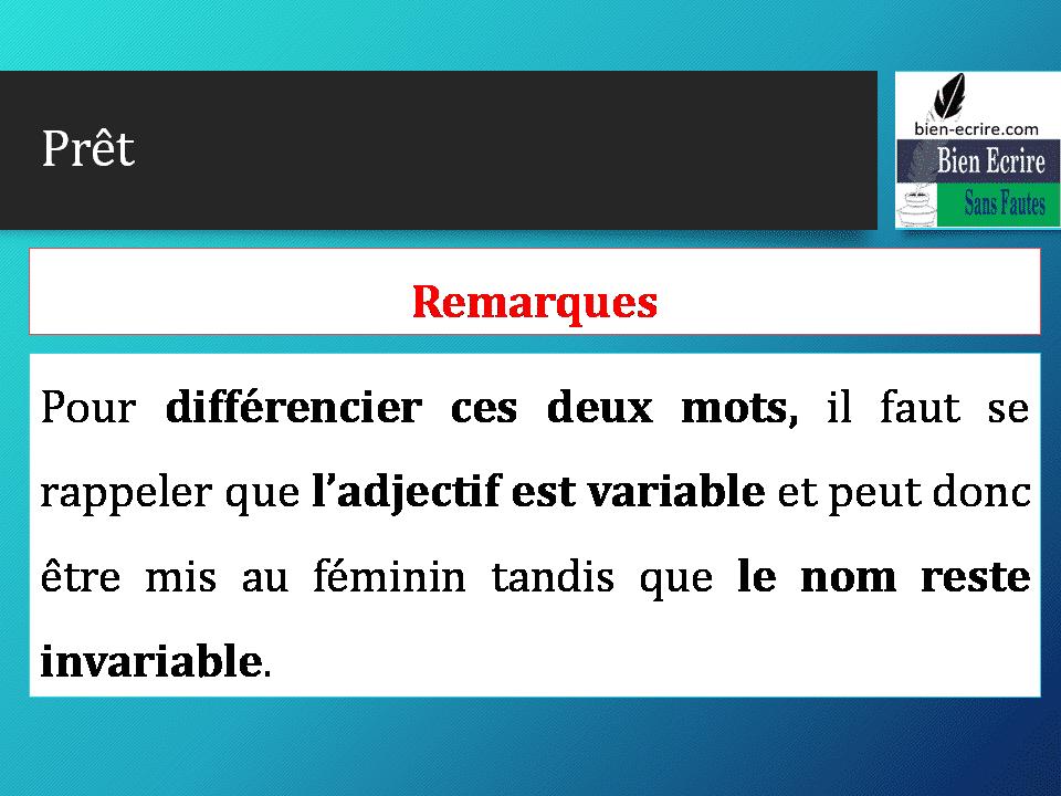 Pour différencier ces deux mots, il faut se rappeler que l'adjectif est variable et peut donc être mis au féminin tandis que le nom reste invariable.