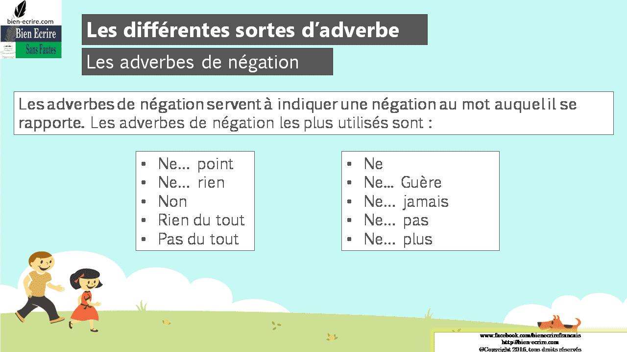 Les adverbes de négation Les adverbes de négation servent à indiquer une négation au mot auquel il se rapporte. Les adverbes de négation les plus utilisés sont :