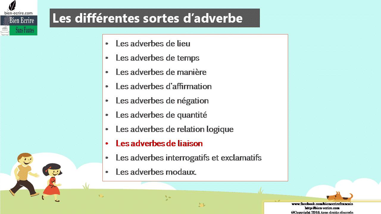 Les différentes sortes d'adverbe Les adverbes de lieu Les adverbes de temps Les adverbes de manière Les adverbes d'affirmation Les adverbes de négation Les adverbes de quantité Les adverbes de relation logique Les adverbes de liaison Les adverbes interrogatifs et exclamatifs Les adverbes modaux