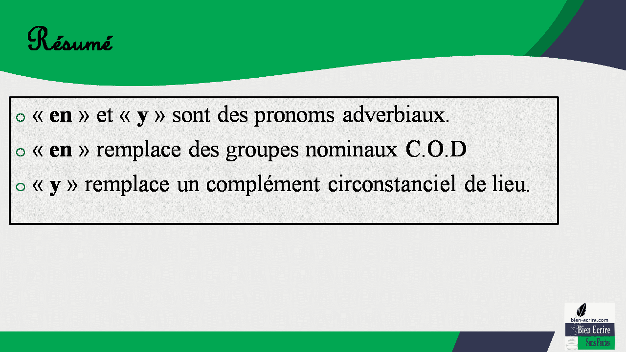 Résumé o « en » et « y » sont des pronoms adverbiaux. o « en » remplace des groupes nominaux C.O.D o « y » remplace un complément circonstanciel de lieu.