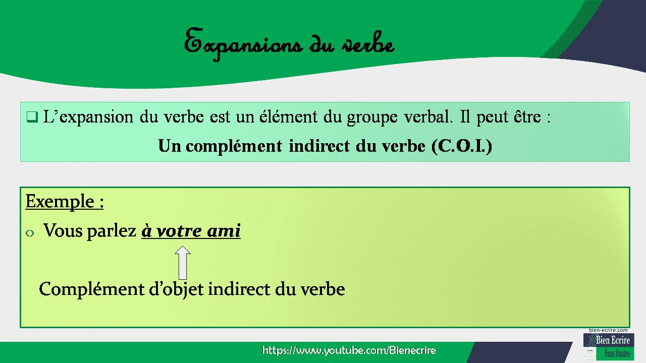  L'expansion du verbe est un élément du groupe verbal. Il peut être : Un complément indirect du verbe (C.O.I.) Exemple : o Vous parlez à votre ami Complément d'objet indirect du verbe