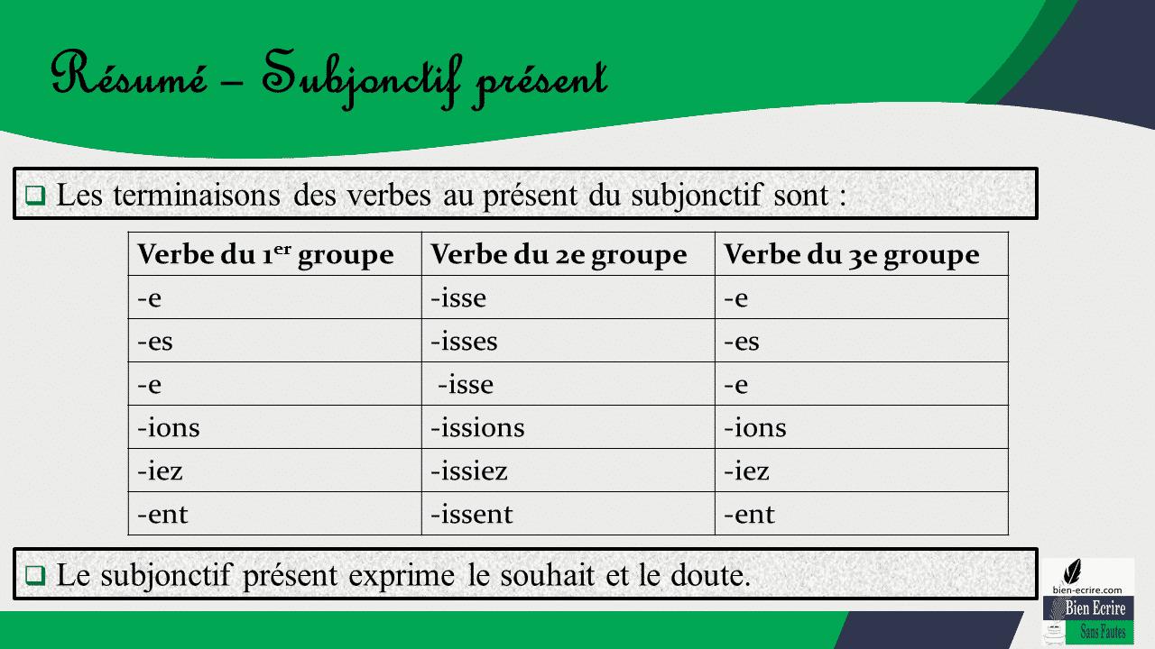 Les terminaisons des verbes au présent du subjonctif sont :