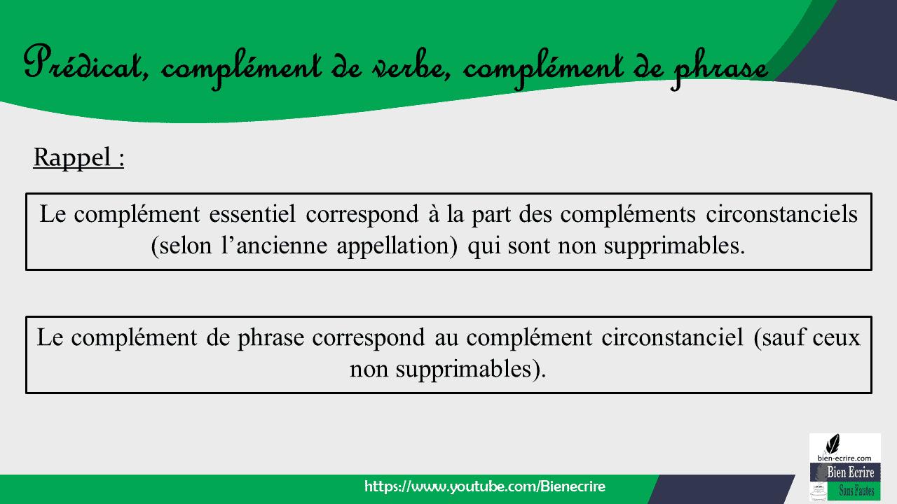 Rappel : Le complément de phrase correspond au complément circonstanciel (sauf ceux non supprimables). Le complément essentiel correspond à la part des compléments circonstanciels (selon l'ancienne appellation) qui sont non supprimables.