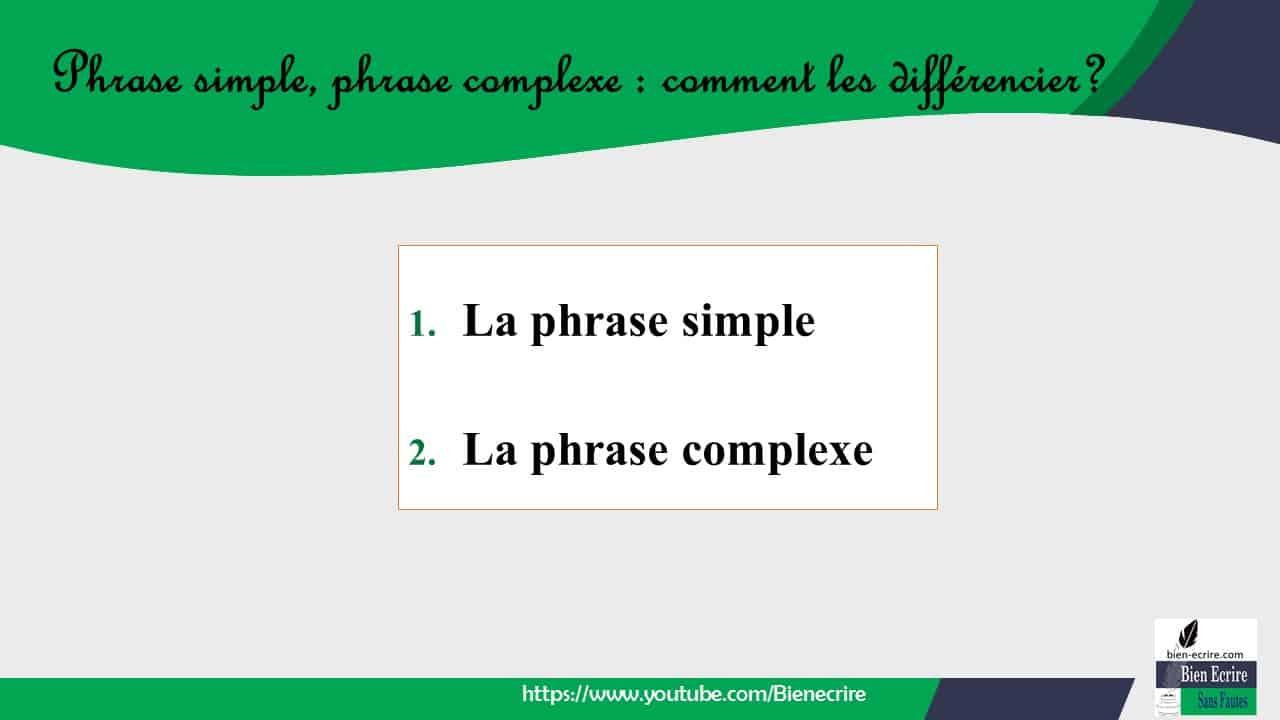 1. La phrase simple 2. La phrase complexe