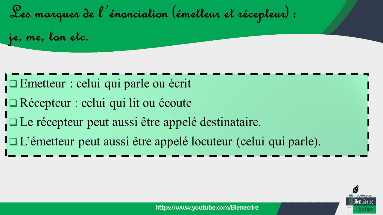  Emetteur : celui qui parle ou écrit  Récepteur : celui qui lit ou écoute  Le récepteur peut aussi être appelé destinataire.  L'émetteur peut aussi être appelé locuteur (celui qui parle).