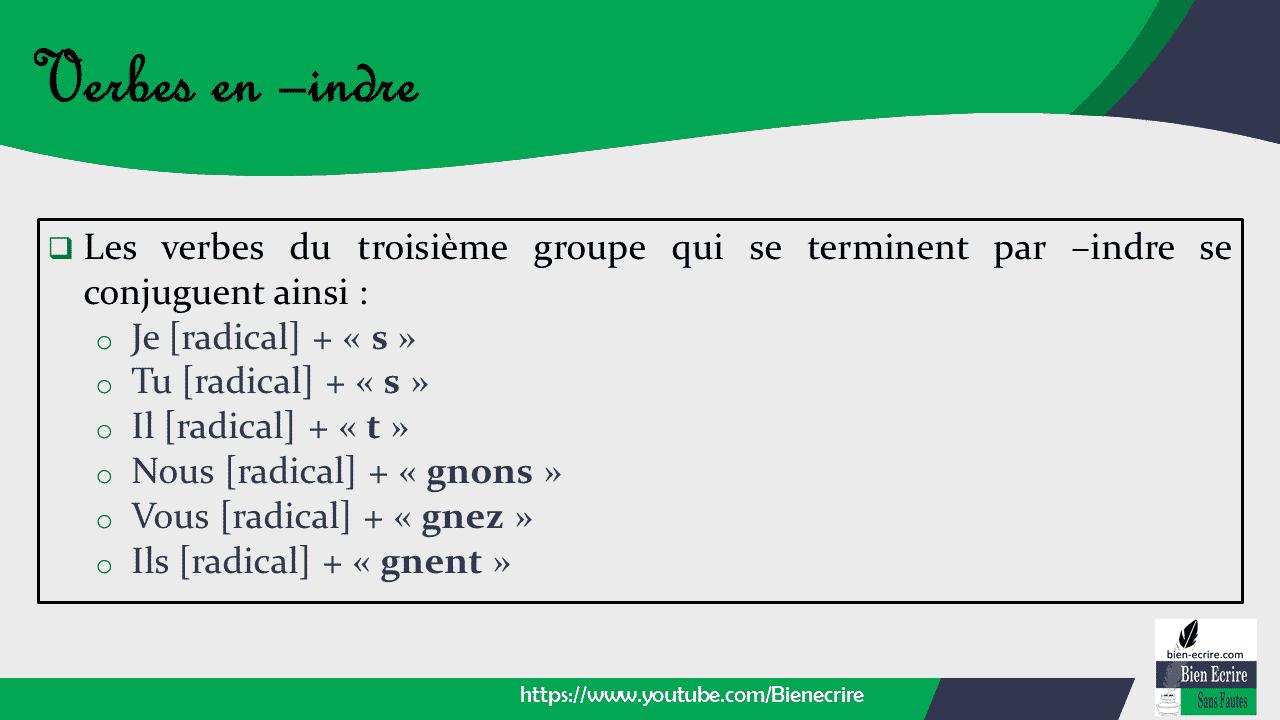  Les verbes du troisième groupe qui se terminent par –indre se conjuguent ainsi : o Je [radical] + « s » o Tu [radical] + « s » o Il [radical] + « t » o Nous [radical] + « gnons » o Vous [radical] + « gnez » o Ils [radical] + « gnent »