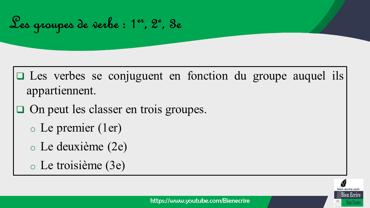  Les verbes se conjuguent en fonction du groupe auquel ils appartiennent.  On peut les classer en trois groupes. o Le premier (1er) o Le deuxième (2e) o Le troisième (3e)