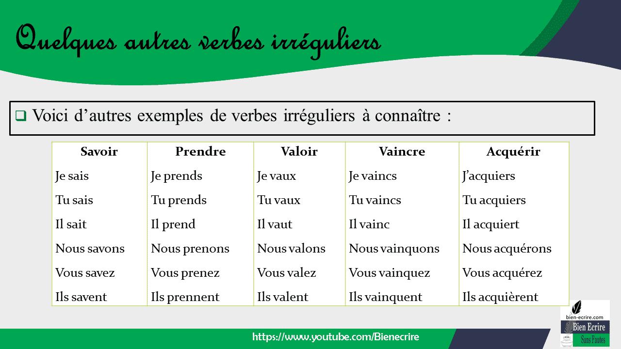  Voici d'autres exemples de verbes irréguliers à connaître :