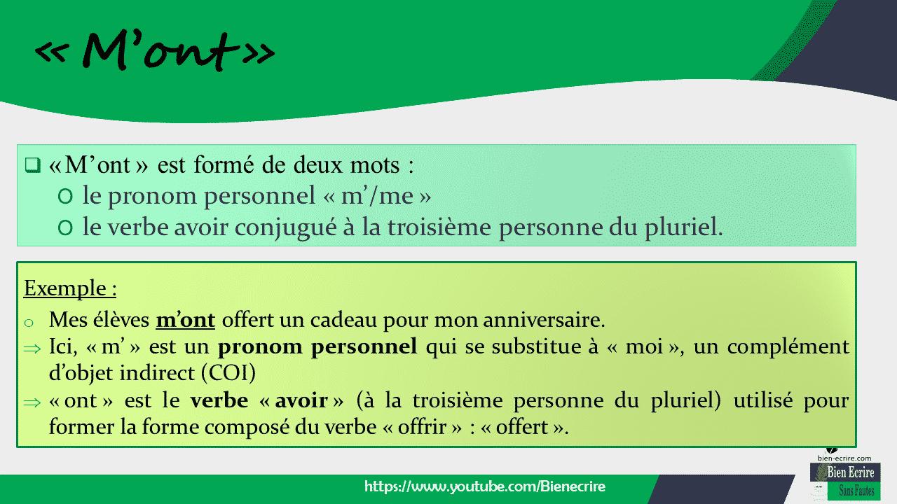  «M'ont» est formé de deux mots : O le pronom personnel « m'/me » O le verbe avoir conjugué à la troisième personne du pluriel.