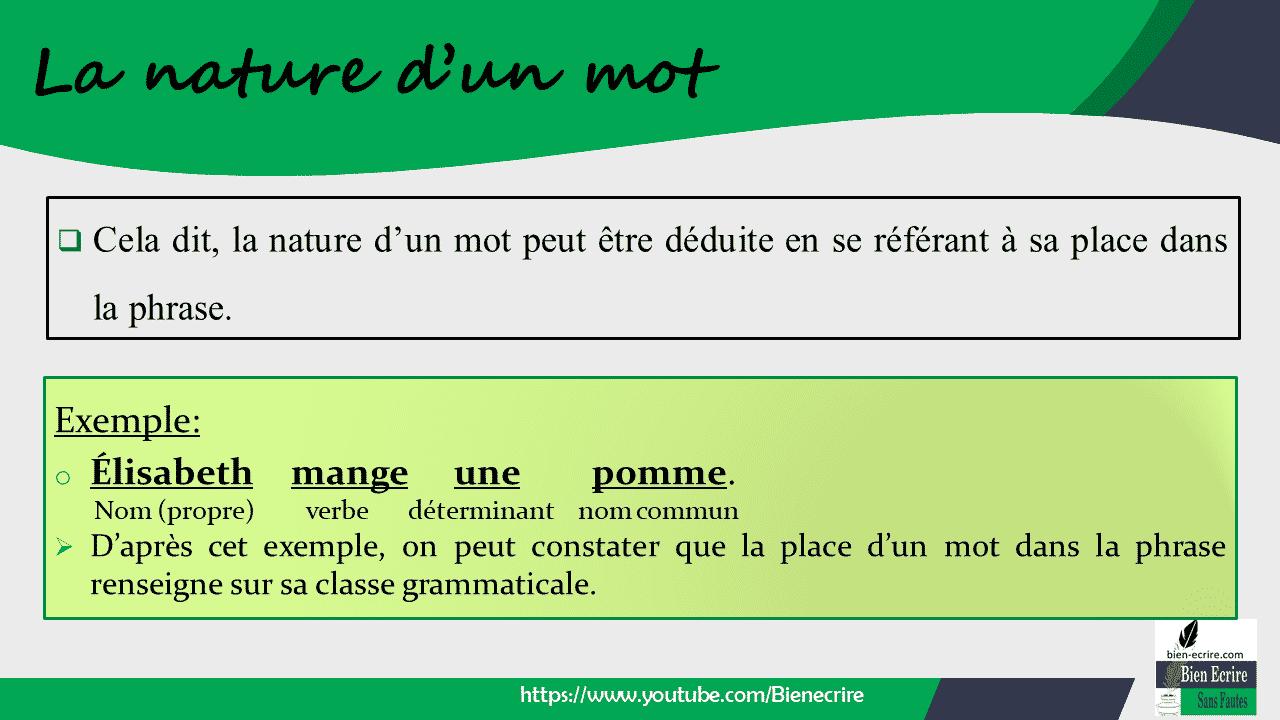Exemple: o Élisabeth mange une pomme. Nom (propre) verbe déterminant nom commun ➢ D'après cet exemple, on peut constater que la place d'un mot dans la phrase renseigne sur sa classe grammaticale.