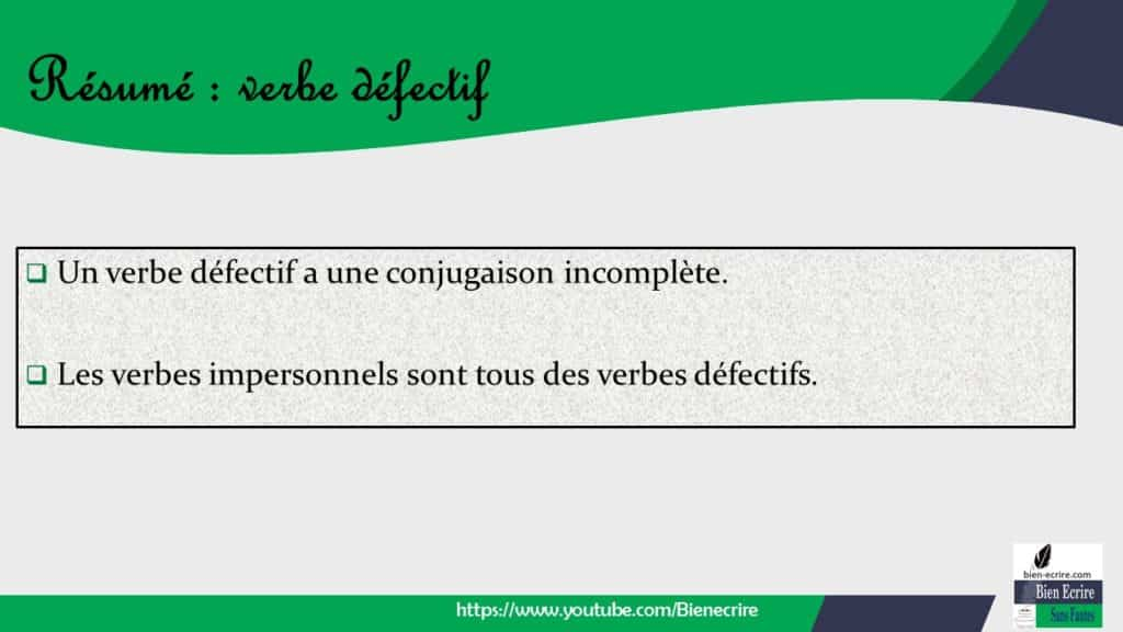 Verbe 18 Verbe Defectif Bien Ecrire